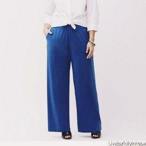 Lane Bryant Simply Chic Wide Leg Pants Teal Blue